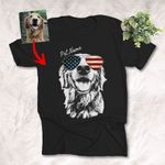 American Flag Glasses Independence day 4th July Customized Dog Photo Portrait T-shirt