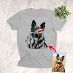 4th July Independence Day America Flag Glasses Customized Dog Portrait Shirts