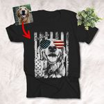 American Flag 4th July Independence Day Dog With Glasses Customized Unisex T-Shirts Dog Parents Gift