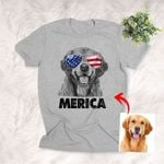 American 4th July Independence Day Hand Drawn Dog With Glasses Customized Unisex T-Shirts Dog Parents Gift