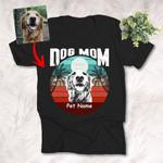 Dog Mom Vintage Sunset Customized Dog Portrait T-Shirt Dog Lover Gift Dog Summer Shirt
