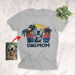 Dog Mom Summer Vibes Sunset Customized Dog Portrait T-Shirt Dog Mama Gift Dog Lovers Shirt