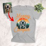 Happy Camper Customized Mountain With Dog Sketch T-Shirt Dog Lover Shirt