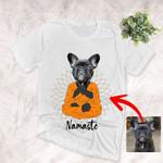 Namaste Color Painting Customized Yoga Dog Photo T-Shirt Dog Lover Yoga With Dogs Shirt