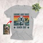 Hiking And Dogs Customized Sketch T-Shirt Dog Lover Kinda Summer Shirt