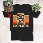 Explore Outdoor Hiking Customized Dog Photo T-Shirt Love Mountains and Dogs Shirt