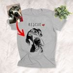 Rescue Customized Hand Drawn T-Shirt Dog Lover Dog Parents Shirt