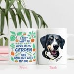 I Just Want To Work In My Garden And Hang Out With My Dog Custom Dog Sketch Coffee Mug Gift For Fur Mom, Dog Lovers, Gardeners