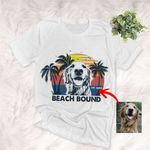 Beach Bound Vintage Sunset Custom Dog Sketch T-Shirt Dog Summer Lover Shirt