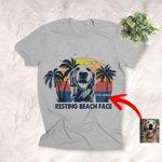 Resting Beach Face Summer Vibes Custom Dog Sketch T-Shirt Dog Summer Lover Shirt