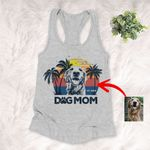 Dog Mom Summer Vibes Customized Women's Tank Top For Dog Mama Pet Owner