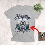 Happy Camper Mountains Custom Dog Sketch T-Shirt Dog Exploring Lover Shirt