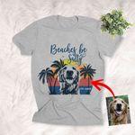 Beaches Be Salty Summer Vibes Custom Dog Sketch T-Shirt Dog Summer Lover Shirt