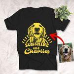Sunshine And My Dog Customized Dog Photo Sketch T-Shirt Dog Lover Shirt
