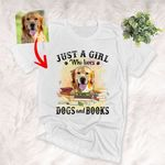 Just A Girl Who Loves Dogs And Books Vintage Customized Dog Portrait T-Shirt Gift For Dog Lovers, Book Lovers