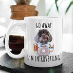 Go Away I'm Introverting Custom Dog Portrait Coffee Mug Gift For Fur Mom, Dog Lovers