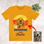 Customized Sunshine And My Dog Sketch Golden Sunset T-Shirt Gift For Dog Lovers