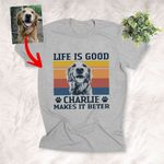 Customized Life Is Good Colorful Background Dog Sketch T-Shirt Gift For Dog Lovers, Pet Parents
