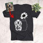 My Ray Of Sunshine Customized Dog Sunflower Photo Sketch T-Shirt Dog Lover Shirt
