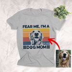 Fear Me, I'm A Dog Mom Sketch Artwork T-Shirt Dog Lovers, Dog Mama Shirt