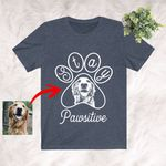 Stay Pawsitive Sketch Dog Print T-Shirt Dog Lover Pet Owner Shirt