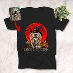 I Smell Children Halloween Witch Customized Dog Photo Sketch T-Shirt Dog Lover