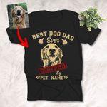 Best Dog Dad Ever Customized Dog Photo Sketch T-Shirt Dog Lover