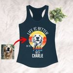Life Is Better On The Lake With A Dog Sketch Dog Customized Women's Tank Top For Dog Mama Pet Owner