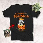 Happy Halloween Funny Dog Portrait With Pumpkin Customized Dog Photo Sketch T-Shirt Gift For Halloween, Spooky Dog Lover