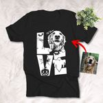 Love Halloween Customized Dog Photo Sketch T-Shirt Gift For Halloween, Spooky Dog Lover