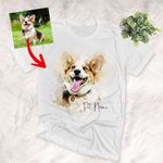 Personalized Dog Watercolor Effect Unisex T-shirt Gift For Dog Owners, Anniversary Gift For Her, Birthday Gift For Pet Lovers
