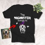 This Momster Belong To Customized Dog Photo Sketch T-Shirt Gift For Halloween, Spooky Dog Lover