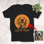 Lick Or Treat Sketch Halloween Customized T-Shirt Gift For Dog Lover Spooky Vibes