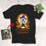 Happy Halloween Witch Dog With Full Moon Night Customized Dog Photo Sketch T-Shirt Gift For Halloween, Spooky Dog Lover