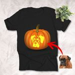 Halloween Carving Patterns Style Customized Dog Photo T-Shirt Gift For Halloween, Spooky Dog Lover