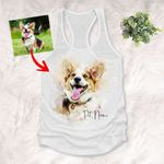 Water Color Pet Portrait Customized Women's Tank Top Pet Memorial Gift For Dog Moms, Dog Mama, Birthday Gift For Girlfriend