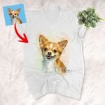 Dog Portrait Water Color Effect Personalized Unisex V-neck shirt Gift for Dog Lover