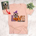 Love Halloween Pet with Pumpkin Customized Dog Sketch T-Shirt Gift For Halloween, Spooky Dog Lover