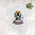 Pet With Pumpkin Glasses Customized Dog Sketch T-Shirt Gift For Halloween, Spooky Dog Lover