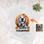 Happy Halloween Pet Customized Full Moon Sketch T-Shirt Gift For Halloween, Spooky Dog Lover