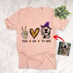 Peace Love Dog Halloween Customized Dog Sketch T-Shirt Gift For Halloween, Spooky Dog Lover