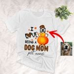 I Love Being A Dog Mom Customized Dog Sketch Fall Pumpkin T-Shirt Gift For Halloween, Dog Lover