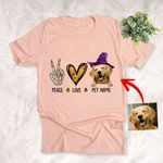 Peace Love Dog Halloween Customized Dog Illustration T-Shirt Gift For Halloween, Spooky Dog Lover