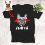 Vampire Halloween Customized Dog Portrait Sketch T-Shirt Gift For Spooky Dog Lover