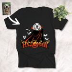 Happy Halloween Vampaw Customized Dog Photo Sketch T-Shirt Gift For Halloween, Spooky Dog Lover