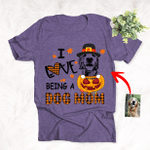 I Love Being A Dog Mom Of Little Pumpkin Customized Dog Sketch  T-Shirt Gift For Dog Lovers, Plaid Lover, Dog Mom, Dog Dad, Halloween