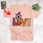 Dog Mom Life Pet with Pumpkin Customized Dog Sketch T-Shirt Gift For Halloween, Spooky Dog Lover