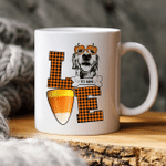 Fall In Love With Autumn And Dog Custom Dog Sketch Coffee Mug Gift For Spooky Dog Mom, Fur Mom, Dog Lovers