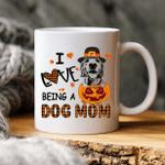I Love Being A Dog Mom Custom Dog Sketch Coffee Mug Gift For Spooky Dog Mom, Fur Mom, Dog Lovers