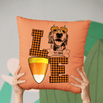 Fall In Love WIth Pet And Halloween Customized Sketch Pillow Case For Halloween, Gift For Spooky Dog Mom